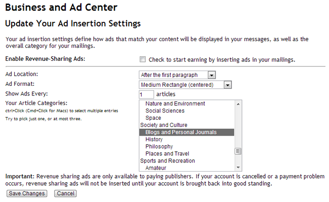 Ad Insertion Settings