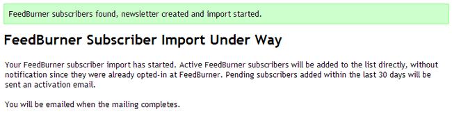 FeedBurner Subscriber Import Under Way