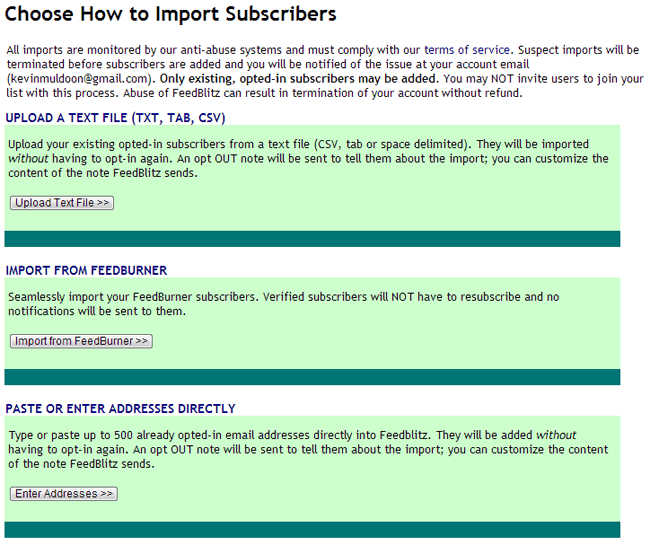 Choose How to Import Subscribers