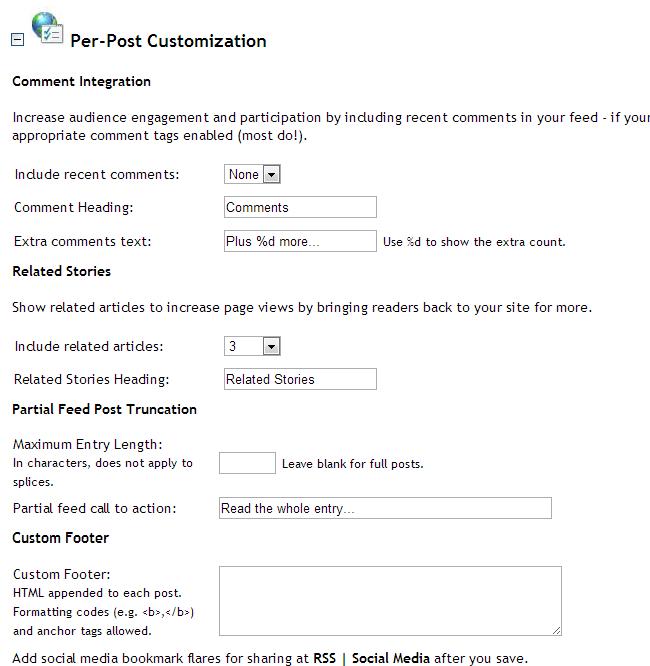 FeedBlitz Per Post Customisation