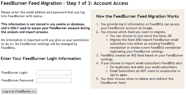 Feedburner Integration Step 1