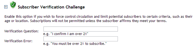 Subscriber Verification Challenge