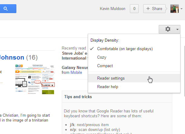 Click on Reader Settings