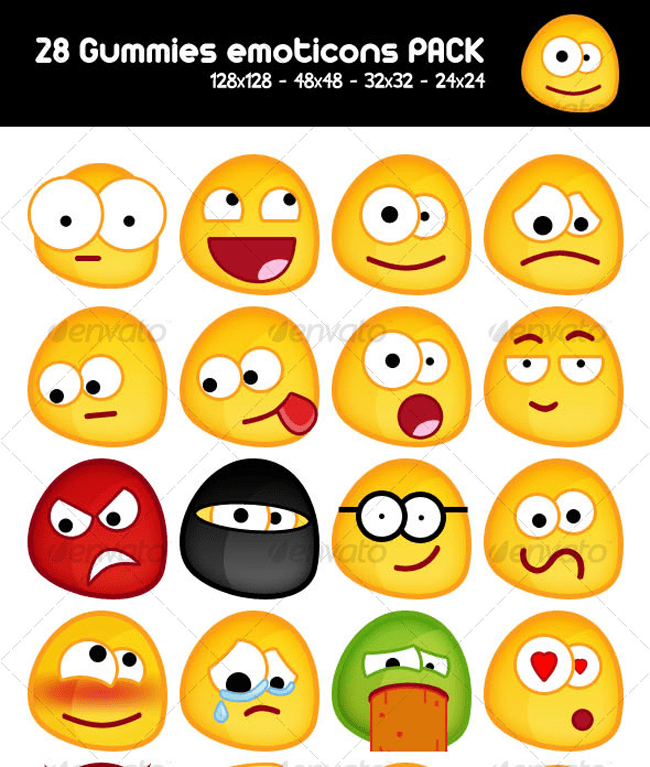 28 Gummy emoticons PACK