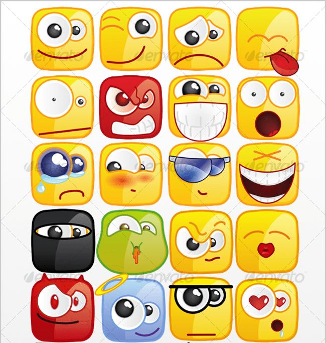 36 Square emoticons PACK