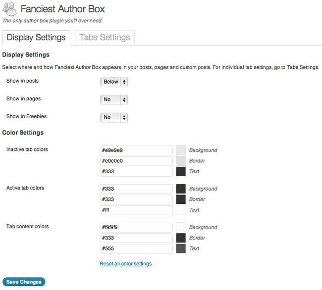 Fanciest Author Box Display Settings