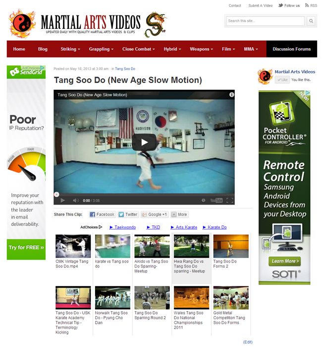 Martial Arts Videos Video Page