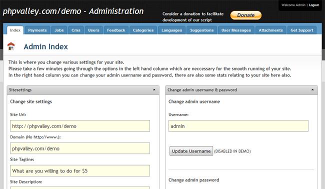 PHPValley Micro Jobs Site Script Admin Area