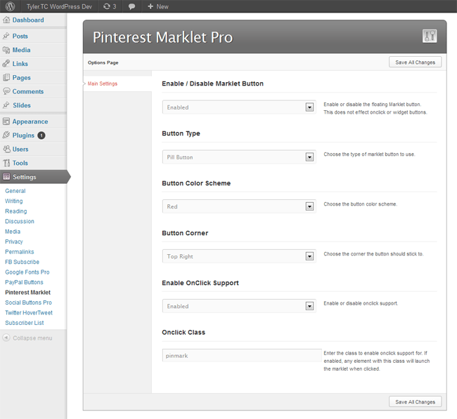 Pinterest Marklet for WordPress