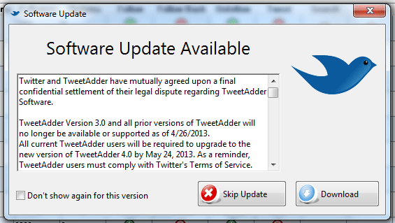 TweetAdder Software Update