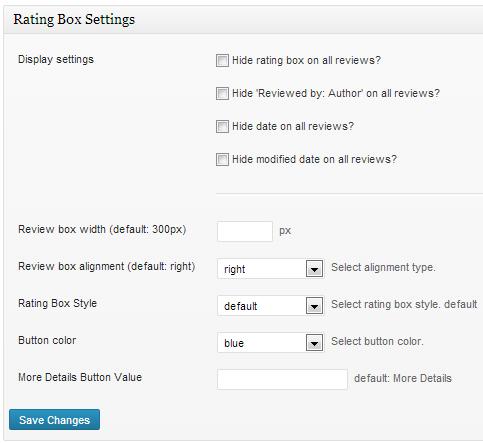 Rating Box Settings