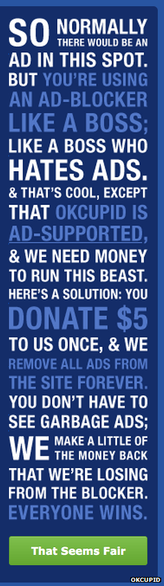 OKCupid No Ads Banner