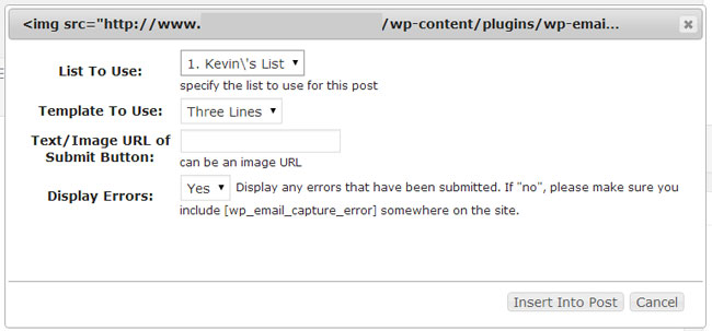 Insert Form Into Post or Page