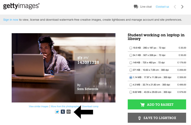 Embed Image on Getty Images
