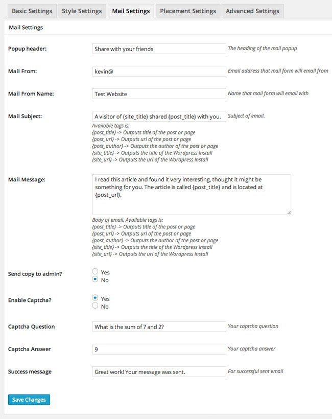 Ultimate Social Deux Mail Settings