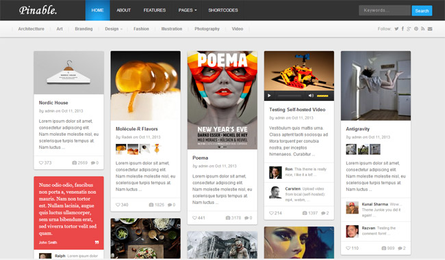 Pinable WordPress Theme