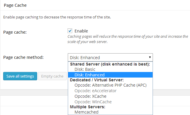 W3 Total Cache Page Cache with Options