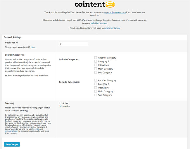 Cointent WordPress Plugin