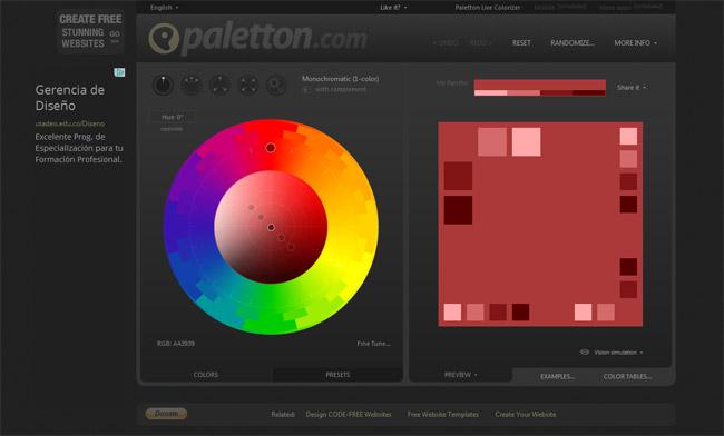 Paletton Color Picker Website