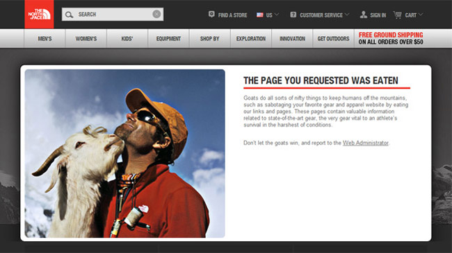 The North Face Error Page