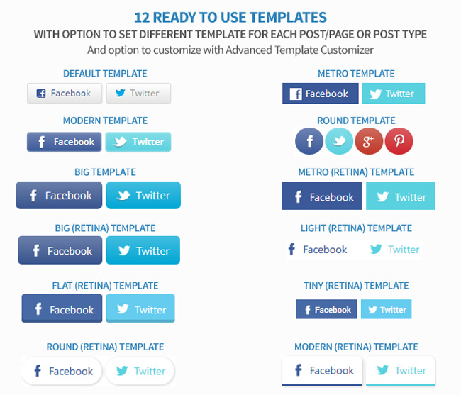 Easy Social Share Buttons Template Designs