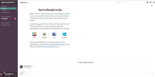 Slack starting page