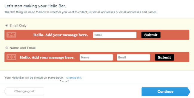 Hello Bar Email Text