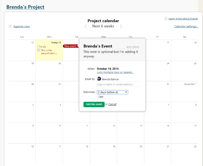 Basecamp events viewed within calendar