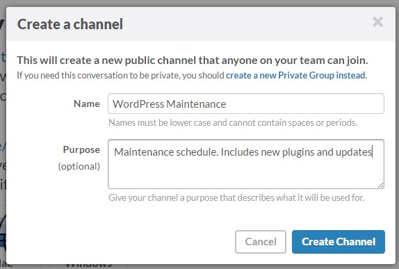 Slack Create a Channel