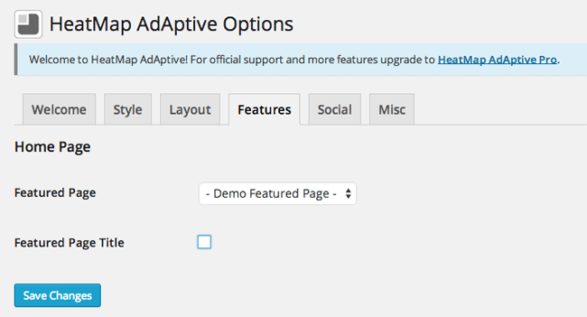 HeatMap Theme Features Options