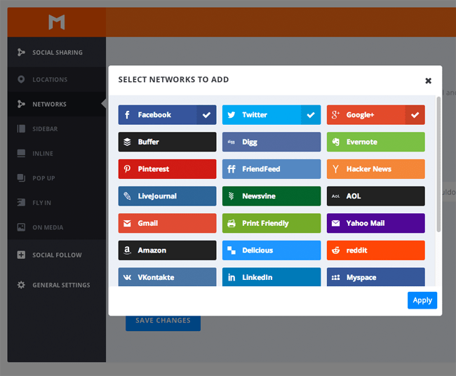 Select Networks to Add