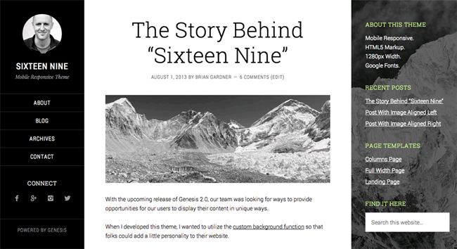 Sixteen Nine WordPress Theme