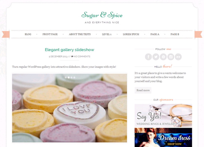 Sugar & Spice Free WordPress Theme