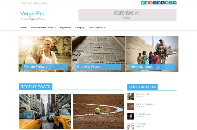 Verge Free WordPress Theme