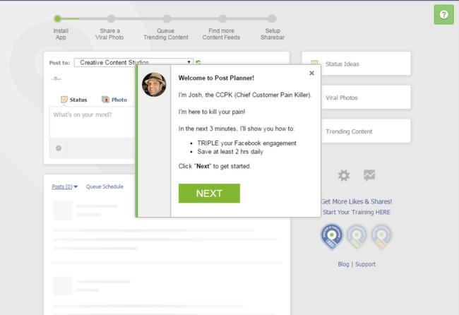 PostPlanner: Main Facebook Screen
