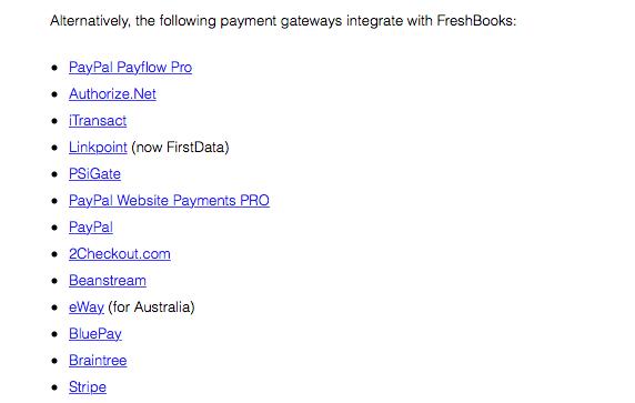 FreshBook Payment Gateways