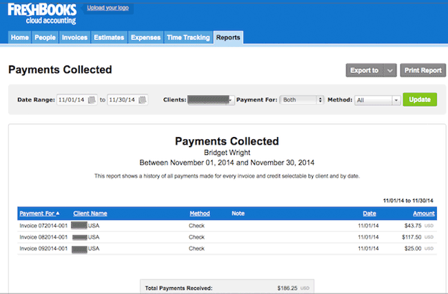 Freshbooks Collection Payments Report