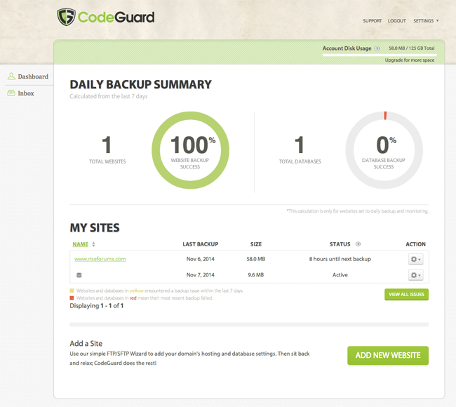 Daily Backup Summary