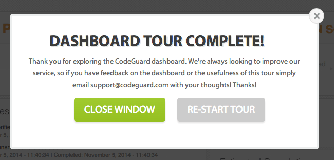 CodeGuard Dashboard Tour Completed