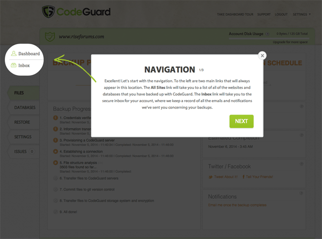 CodeGuard Navigation Links