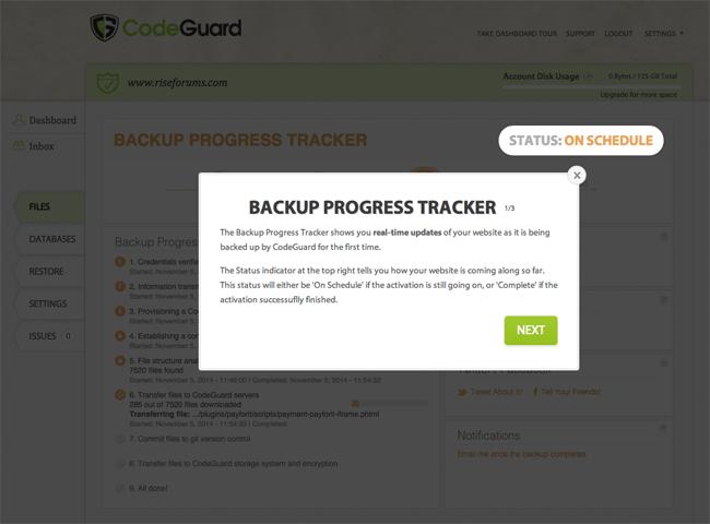 CodeGuard Backup Progress Tracker