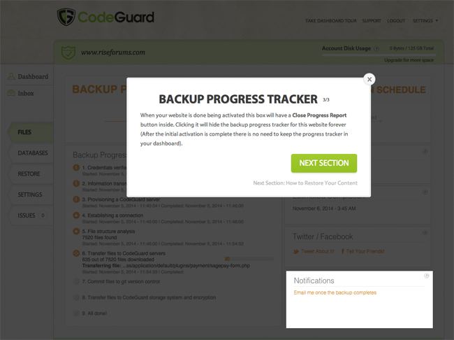 CodeGuard Backup Progress Tracker