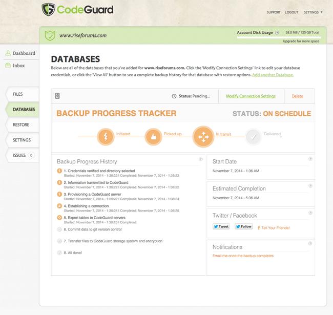 Database Backup Progress Tracker