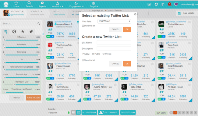 SocialBro: Search Lists