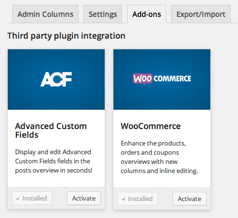Admin Columns Pro Add Ons
