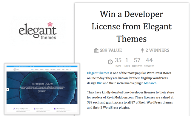 Win a Developer License from Elegant Themes