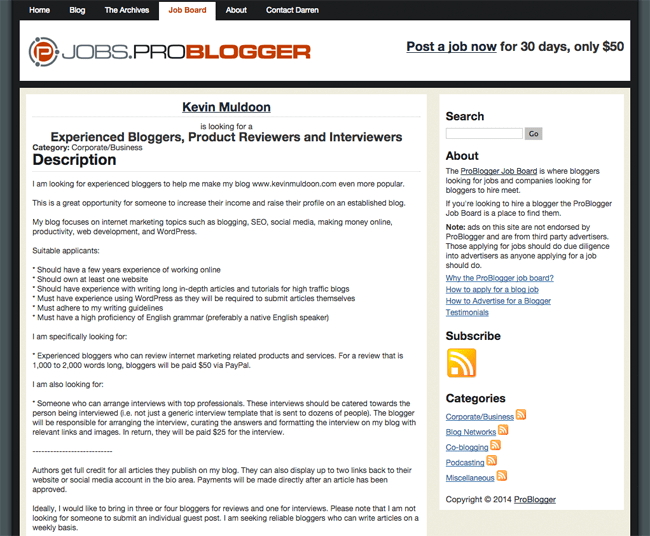 My ProBlogger Job Advertisement