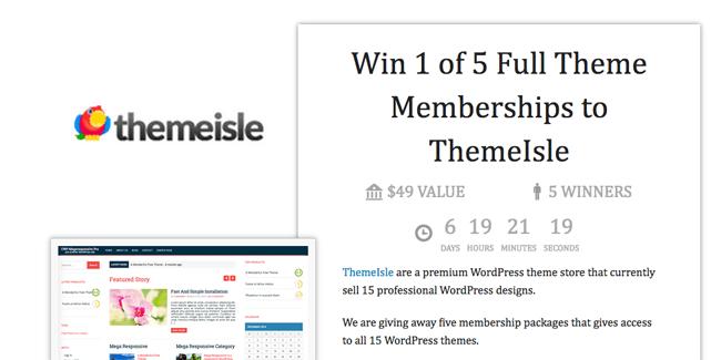 Win 1 of 5 Full Theme Memberships to ThemeIsle