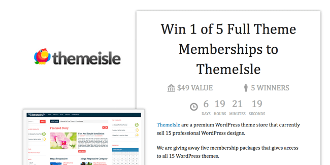 Win 1 of 5 Full Theme Memberships to ThemeIsle