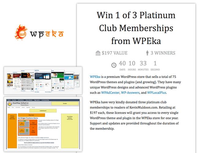 Win 1 of 3 Platinum Club Memberships from WPEka